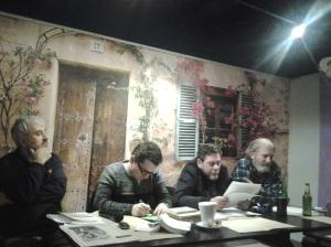 Serile Sinapsa (V); Invitați: Octavian Soviany, Paul Vinicius și Florin Caragiu; Moderator: Luigi Bambulea; partener media: fdl.ro & Victor Potra; organizatori: Florin și Diana Caragiu; Poezie românească; diverse; fotografiile mele; 17.01.2015; 18:30-20:30; București; str. Bibescu Vodă nr. 19; braseria Alouette; publicat de Bot Eugen. sectorul 2; șoseaua Pantelimon 302; 17.01.2015; 22:31